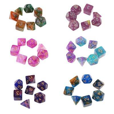 AU4.34 • Buy 7pcs/set Dichromatic D4 D6 D8 D10 D12 D20 Polyhedral Dices Numbers Dials Desktop