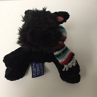 Tesco Rare Chilly And Friends Scamp Black Scottie Dog  Knitted Scarf Soft Plush • 9.99£