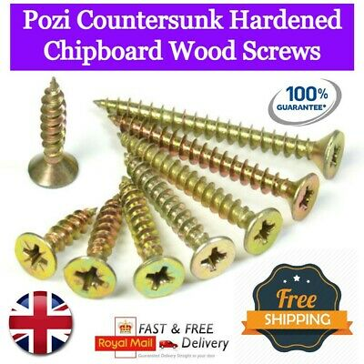 £3.88 • Buy Pozi Countersunk Hardened Chipboard Wood Screws Yellow Zinc Plated VALUE PACKS