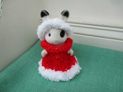 £3.95 • Buy Sylvanian Families Hand Knitted Christmas Chilld Outfit Dress, Headband & Cape