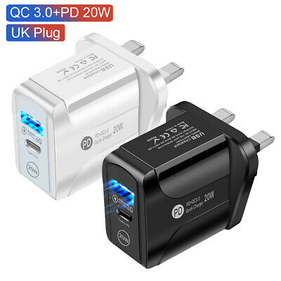 £6.99 • Buy EU/UK Plug Type C Fast Wall Charger Adapter PD 20W LED For IPad IPhone12 Pro Max