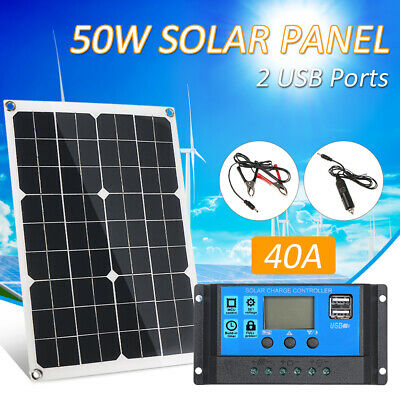 50W Flexible Dual Output Solar Power Panel Battery Charger Car Boat Outdoor G8K3 • 33.24£