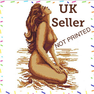 Sexy Naked Nude Lady Woman On Beach Cross Stitch Kit 14 CT Tapestry • 13.50£