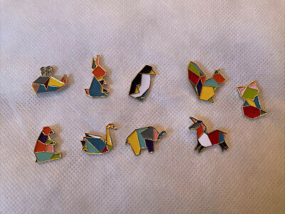 Geometric Origami Animals Enamel Pin Badge Gift Jewellery Kawaii Cute Set Of 9  • 12.50£