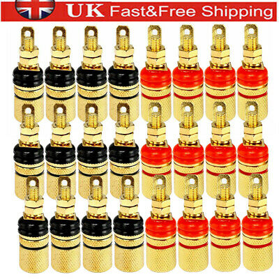 £5.50 • Buy 8-24 Pcs Gold Plated Speaker Terminal Binding Post Connector For 4mm Plug Socket
