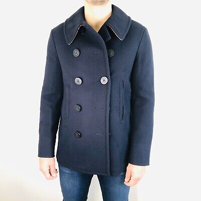 $899 • Buy Burberry Claythorpe Navy Wool Peacoat. Retails For $1190