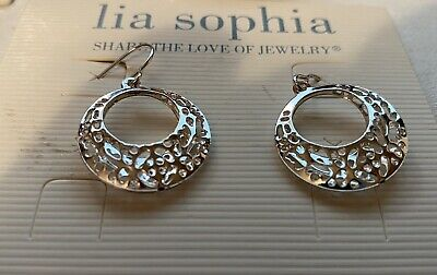 $ CDN11.23 • Buy New Lia Sophia Hoop Earrings, Rhodium, Silver Filigree