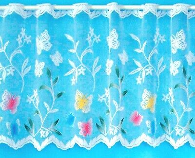 £1.99 • Buy Multi Coloured Butterfly White Lace Short Drop Window Cafe Net By The Metre
