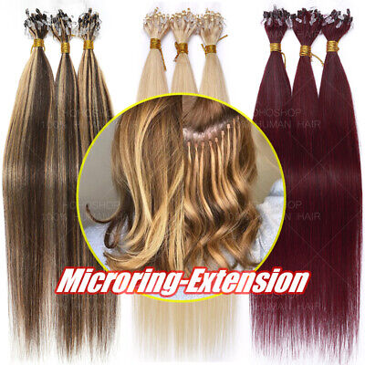 £29.58 • Buy 300 Strands THICK Russian Remy Human Hair Extensions Micro Loop Ring Beads Ombré