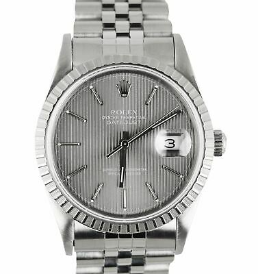 $ CDN5701.21 • Buy 1991 Rolex DateJust 36 16200 Gray Tapestry Stainless Steel Jubilee 36mm 16220