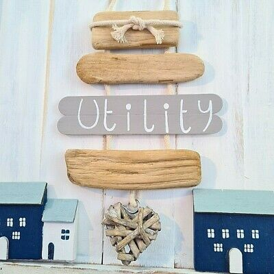 £8.99 • Buy Shabby Driftwood Chic Utility Willow Heart Door Room Plaque Sign Bow