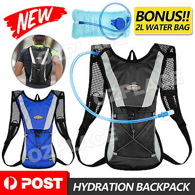 AU17.45 • Buy Hiking Camping Cycling Running Hydration Pack Backpack Bag + 2L Water Bladder AU