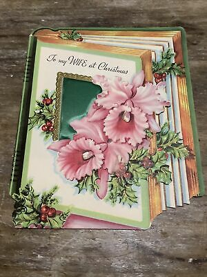 $ CDN3.52 • Buy Vintage Christmas Greeting Card To Wife Pink Orchads 1956