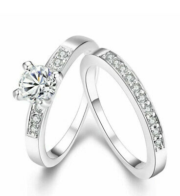 £4.99 • Buy Women's Jewellery 14ct 9ct Silver Gold Wedding Engagement Double Ring Size Gift