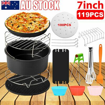 AU28.95 • Buy 119PCS 7  Air Fryer Accessories Rack Cake Pizza Oven Barbecue Frying Pan Tray AU