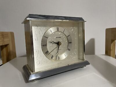 Clock Staiger Quartz Germany Silver Carriage Mantle Clock • 20£