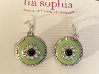$ CDN20.17 • Buy New Lia Sophia Seltzer Earrings Silver Rhodium Green & Blue With Clear Crystals