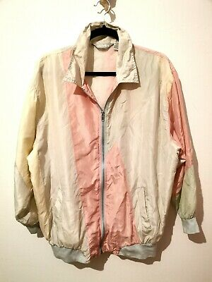 Vintage XL Pastel 100% Silk Outer Bomber Jacket Shell Suit Windbreaker Large L • 18£