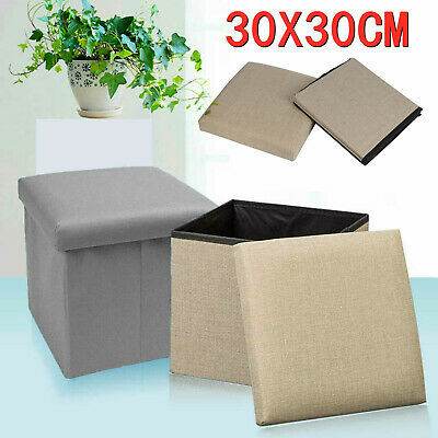 Folding Stool Seat Storage Space Box Chair Cube Footstool Pouf Bench 30x30cm • 8.99£