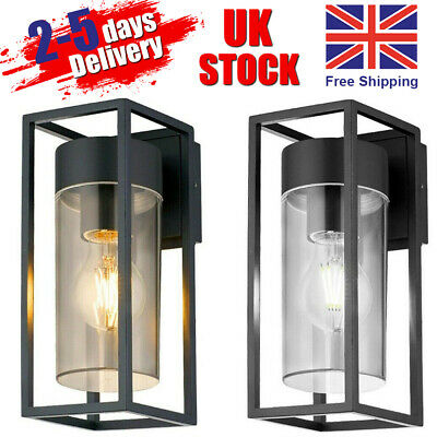 LED Rectangular Wall Light Clear Metal Lantern Garden Wall Lamp UK • 17.55£