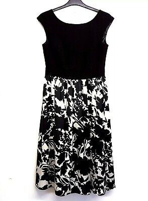 $ CDN30.07 • Buy Ariella Dress Fit And Flare UK 10 Black And White Floral Lined Lana Marie