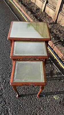 A Fantastic Vintage Set Nest Of 3 Wooden Tables With Glass Top ** • 84.99£
