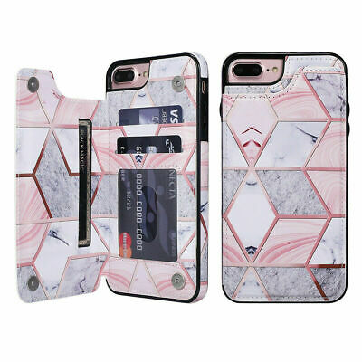 AU12.98 • Buy For IPhone 11 Pro XR X 7 8 Marble Leather Flip Wallet Card Holder Case Cover