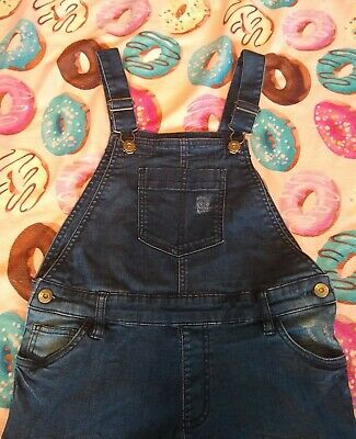 Girls Distressed Denim Dark Dungarees Age 10 Very Brand • 7£
