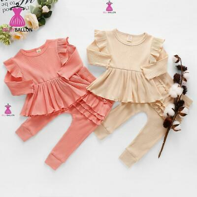 UK Toddler Baby Girl 2Pcs Ruffle Frill Outfits Romper Pant Set Children Clothes • 9.79£