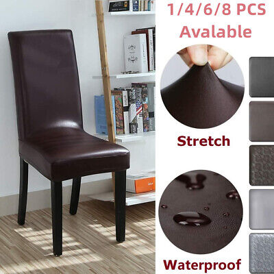 AU57.99 • Buy Stretch Artificial Leather Dining Chair Covers Faux PU  Slipcovers Waterproof