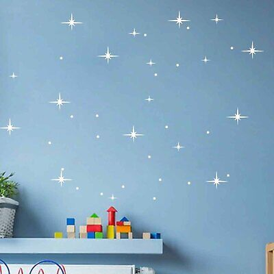 £2.99 • Buy 35 Stars And Dots Vinyl Decals Baby Room Nursery Background Wall Art Stickers
