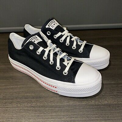 Women's Converse All Star Black & White Love Heart Low Top Trainers Size UK 8 • 39.95£