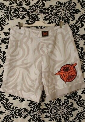 £4.99 • Buy Tap Out Mens Boys Board Swimming Shorts Beige & White Size Small Waist 38in