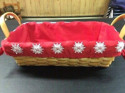 £4.39 • Buy Wicker Bread Basket With Red Liner With Snowflakes (Excellent)