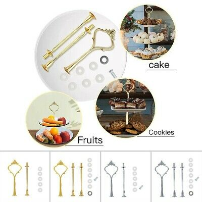 £5.27 • Buy 2/3 Tier Cake Plate Stand Cupcake Fittings Silver Golden Stands Rod No Plate