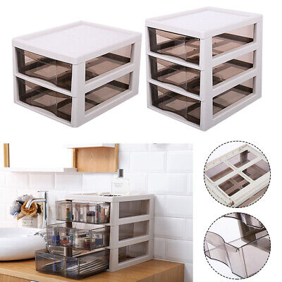 Plastic Storage Box 2/3 Drawers Table Desk Top Cosmetic File Papers Organizer • 17.95£
