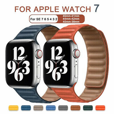 $ CDN14.39 • Buy Leather Link Loop Strap For Apple Watch Band 44mm 40mm IWatch Series 6 SE 5 4 3