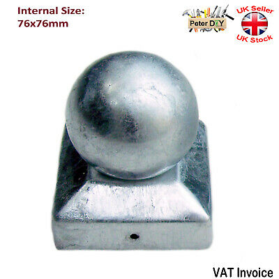 £3.47 • Buy GALVANISED SQUARE Metal Fence Gate Post Cap Caps Flange Size 76x76 Mm BALL TOP