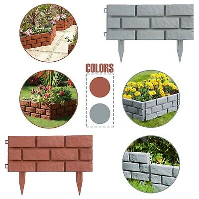 £10.89 • Buy Plastic Brick Effect Lawn Garden Edging Skirting Border Picket Fence In 2 Colour