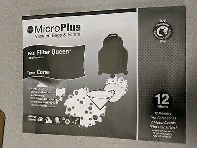 $5.75 • Buy 12 Cones & 2  Secondary Filters-Filter Queen Majestic Vacuum Bags- RN92 OR 50047