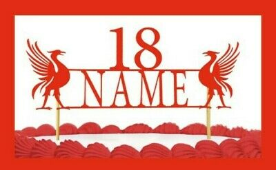 Liverpool Inspired Cake Topper Personalise Happy Birthday Any Name Age, Topper • 4.49£