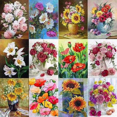 AU14.39 • Buy 5D DIY Full Round Drill Diamond Painting Flower Plant Embroidery Rhinestone Art