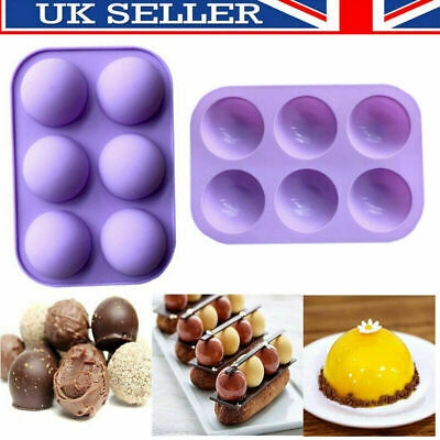 2PCS Half Ball Sphere Silicone Cake Mold Chocolate Cookie Ice Candy Baking Mould • 4.79£