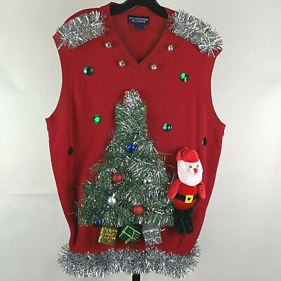 $44.99 • Buy Mens Or Womens Ugly Christmas Sweater Vest Santa With Tree Unique Winner! Sz L