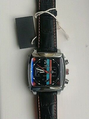 Mens Watch Racing Le Mans Steve McQueen Monaco Porsche Gulf Look Black Face Gift • 87£
