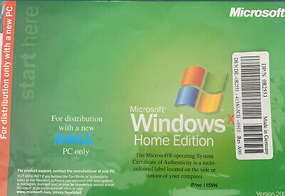 Microsoft Windows XP Home Edition Version 2002 DELL PC. Brand New Sealed. • 19.99£