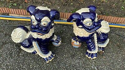 A Fantastic Vintage Pair Of Chinese Foo Dogs Dragons (C1) • 149.99£