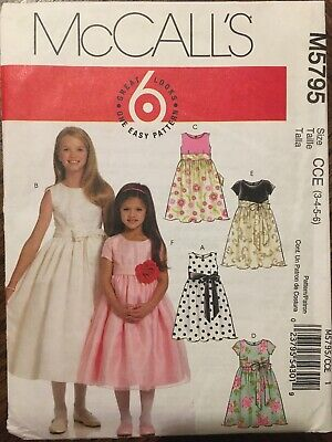 Sewing Pattern Child Girl Party Dress Party Bridesmaid McCalls 3-4, 5-6 UNCUT • 8.50£