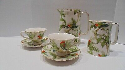 Lot Of 6 Graces TeaWare Parrot 2 Pitchers & 2 Tea Cup Set Ups- Jungle Paradise • 28.62£