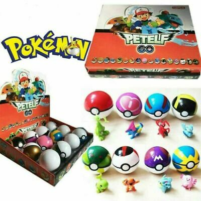 12Pcs Pokemon Ball Set Pokeball GO Action Figures Xmas Toys Children Kids Gift • 10.58£